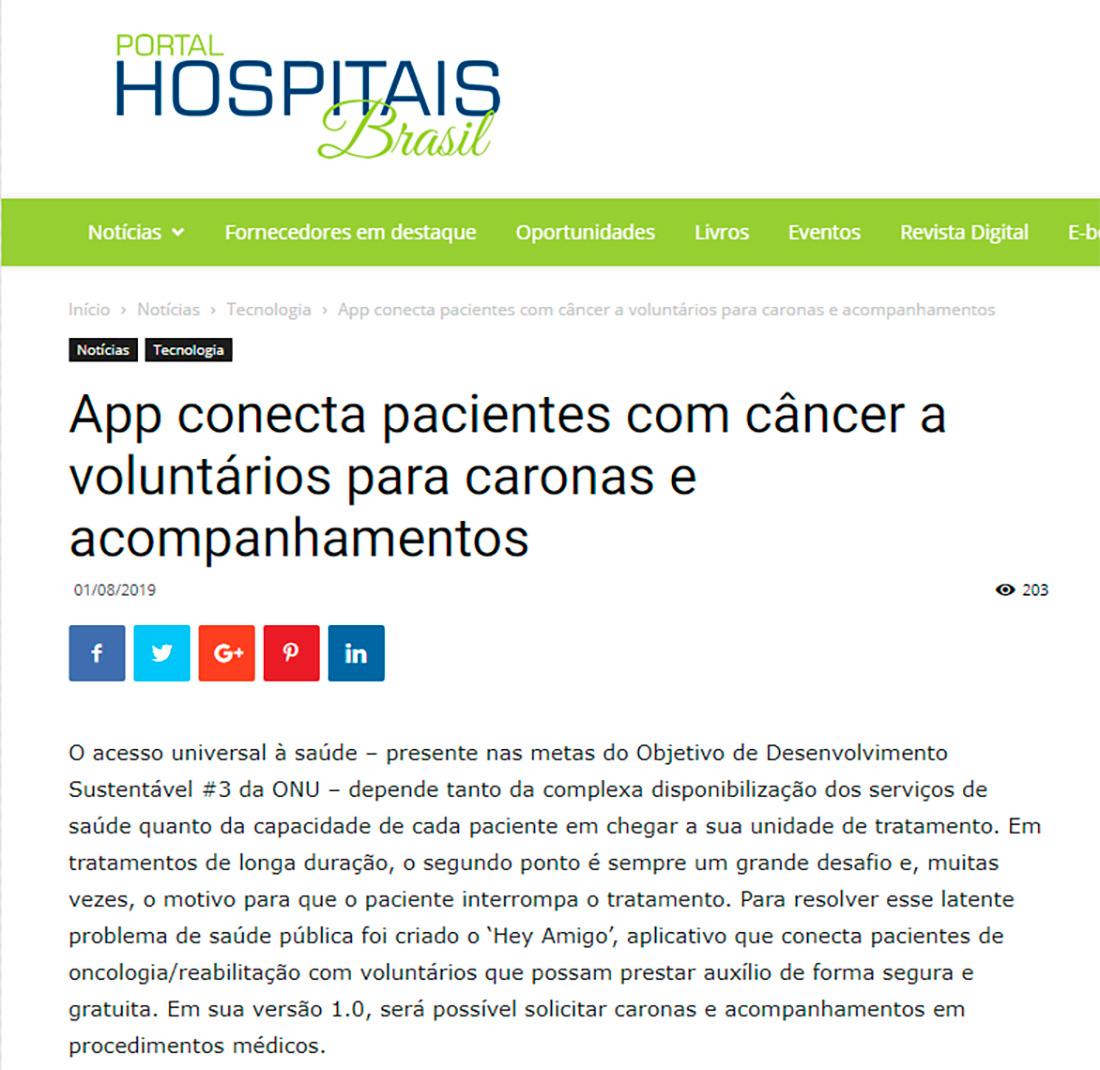 Hey Amigo noPortal Hospitais Brasil